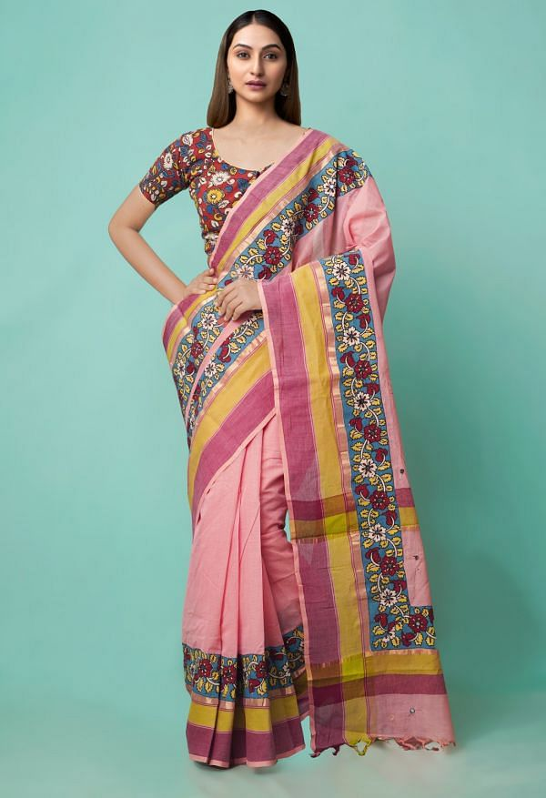 Online Shopping for Pink Pure Mangalagiri Cotton Saree with Embroidery from Andhra Pradesh at Unnatisilks.comIndia