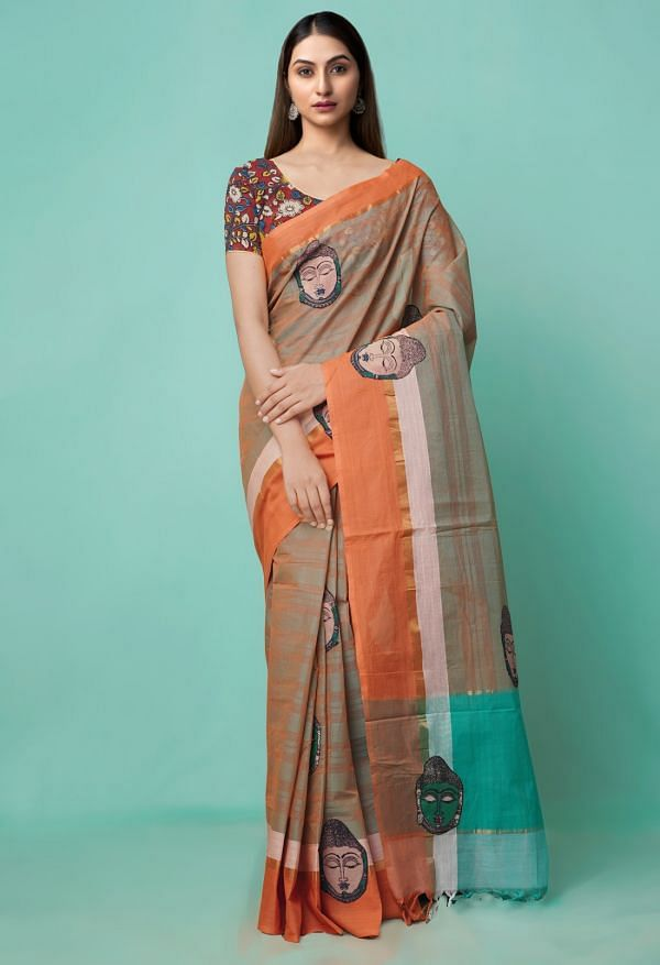 Online Shopping for Green-Orange Pure Mangalagiri Cotton Saree with Embroidery from Andhra Pradesh at Unnatisilks.comIndia