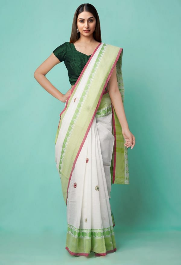 Online Shopping for White Pure Mangalagiri Cotton Saree with Embroidery from Andhra Pradesh at Unnatisilks.comIndia