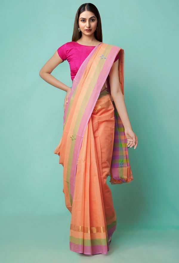Online Shopping for Orange Pure Mangalagiri Cotton Saree with Embroidery from Andhra Pradesh at Unnatisilks.comIndia