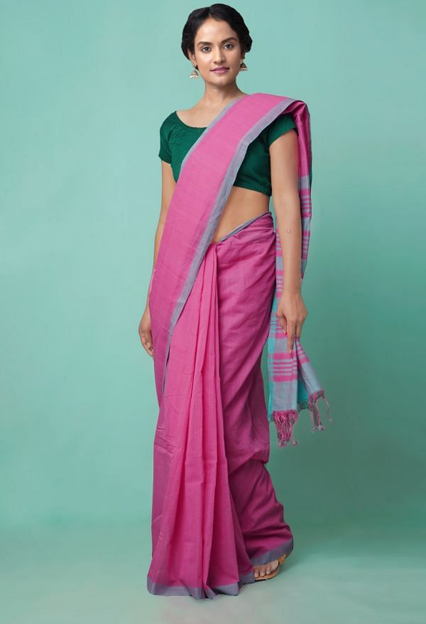 Online Shopping for Pink Pure Handloom Mangalagiri Cotton Saree with Weaving from Andhra Pradesh at Unnatisilks.comIndia