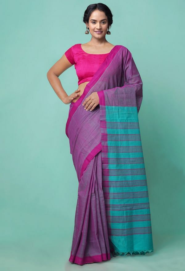 Online Shopping for Pink-Blue Pure Handloom Mangalagiri Cotton Saree with Weaving from Andhra Pradesh at Unnatisilks.comIndia