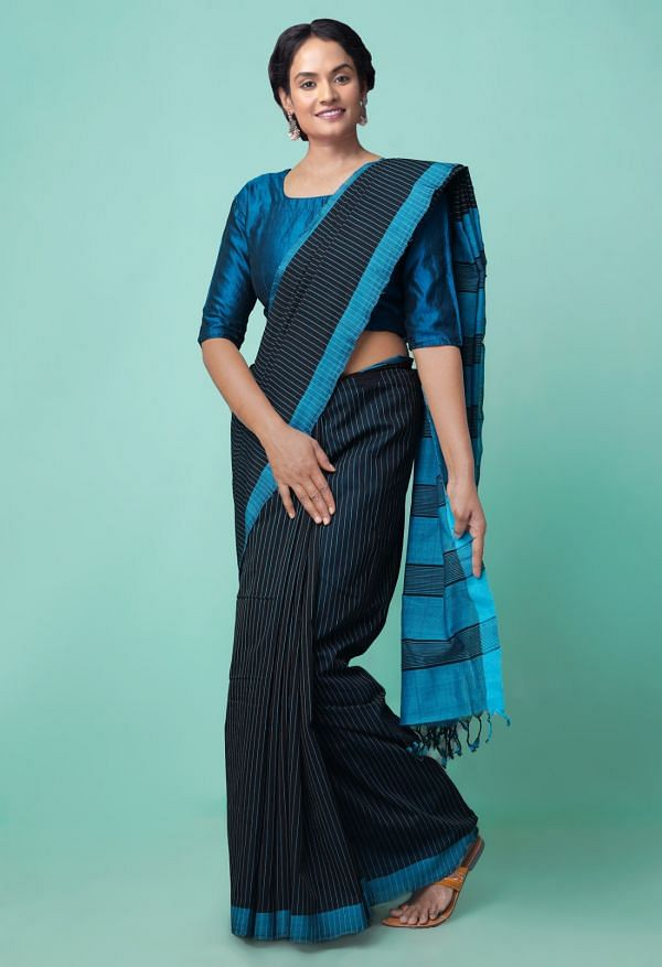 Online Shopping for Black Pure Handloom Mangalagiri Cotton Saree with Stripes with Weaving from Andhra Pradesh at Unnatisilks.comIndia