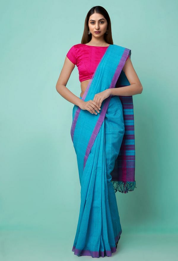 Online Shopping for Blue Pure Handloom Mangalagiri Cotton Saree with Checks with Weaving from Andhra Pradesh at Unnatisilks.comIndia