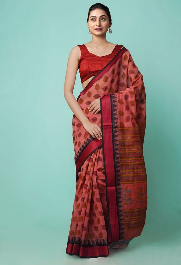 Online Shopping for Red  Block Printed Bengal Sico Saree with Hand Block Prints from West Bengal at Unnatisilks.comIndia