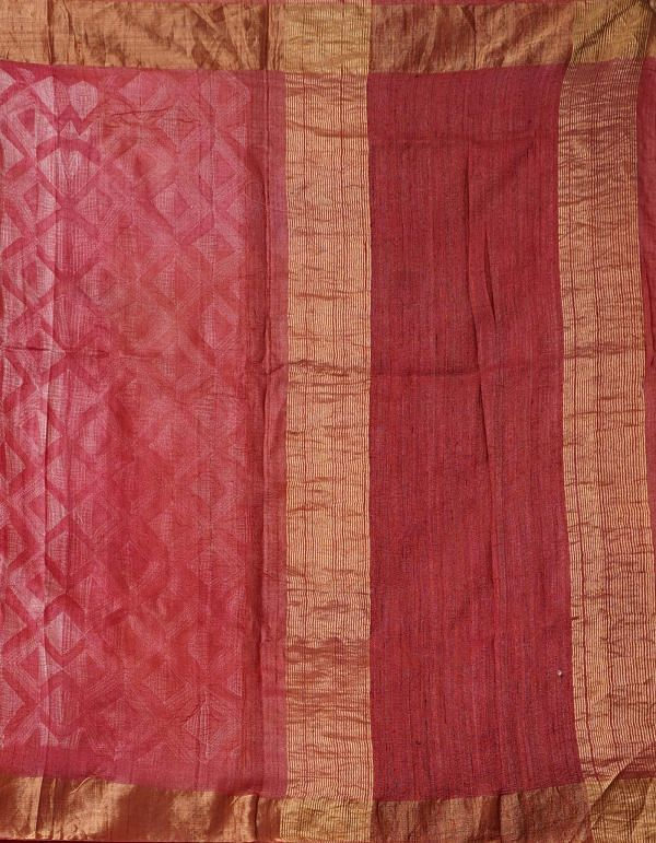 Online Shopping for Red Handloom Shibori Tussar Ghicha Saree with Laheriya-Shibori from Chhattisgarh at Unnatisilks.comIndia