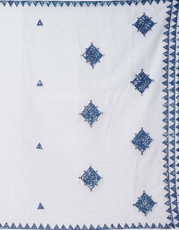 Online Shopping for White Pure Handloom Dabu Kota Cotton Saree with Applique|Dabu from Rajasthan at Unnatisilks.comIndia
