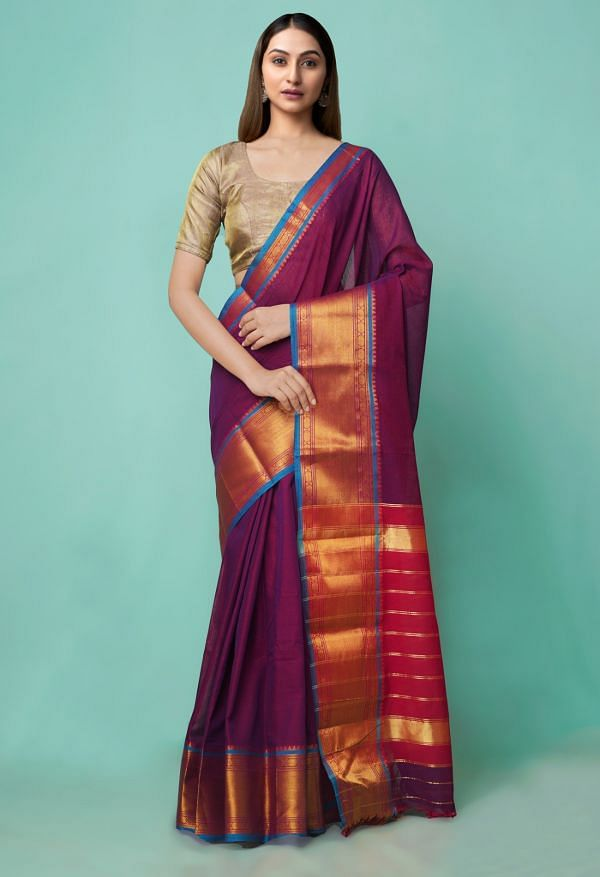 Online Shopping for Purple Pure Handloom Narayanpet Cotton Saree with Weaving from Andhra Pradesh at Unnatisilks.comIndia