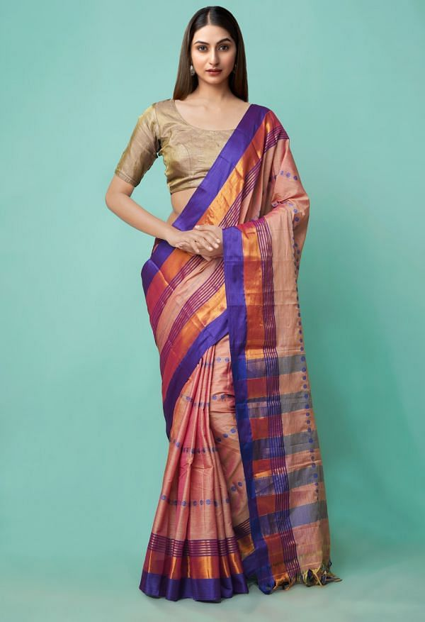Online Shopping for Peach Pure Handloom Narayanpet Silk Cotton Saree with Weaving from Andhra Pradesh at Unnatisilks.comIndia