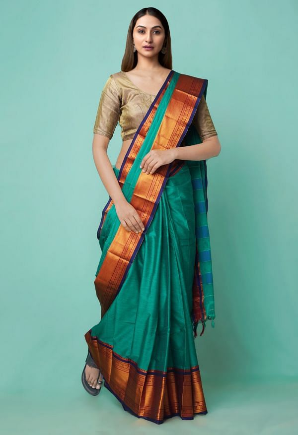 Online Shopping for Green Pure Handloom Narayanpet Silk Cotton Saree with Weaving from Andhra Pradesh at Unnatisilks.comIndia