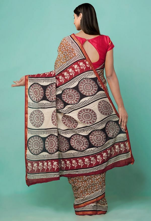 Online Shopping for Mustard Yellow Pure Bagru Printed Mulmul Cotton Saree with Bagru from Rajasthan at Unnatisilks.comIndia