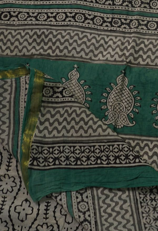 Online Shopping for Grey Pure Bagru Printed Mulmul Cotton Saree with Bagru from Rajasthan at Unnatisilks.comIndia