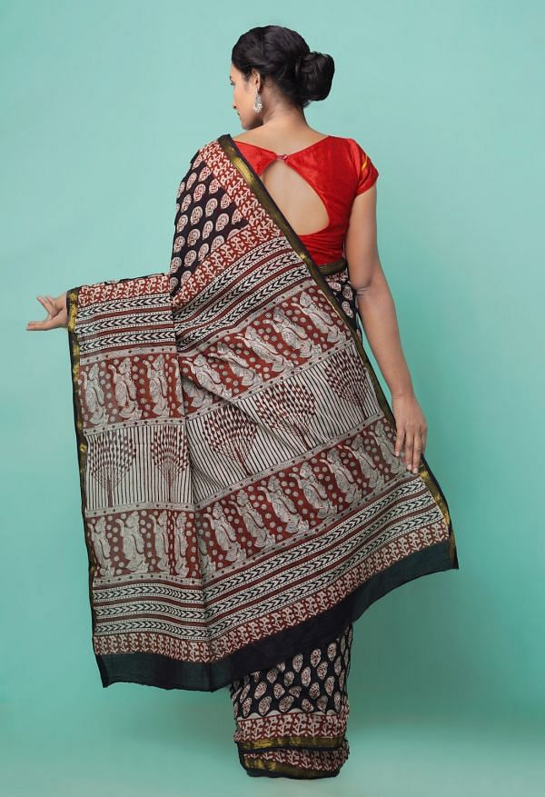 Online Shopping for Black Pure Bagru Printed Mulmul Cotton Saree with Bagru from Rajasthan at Unnatisilks.comIndia