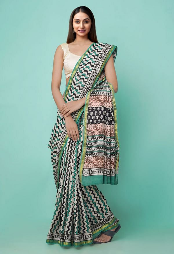 Online Shopping for Beige Pure Bagru Printed Mulmul Cotton Saree with Bagru from Rajasthan at Unnatisilks.comIndia
