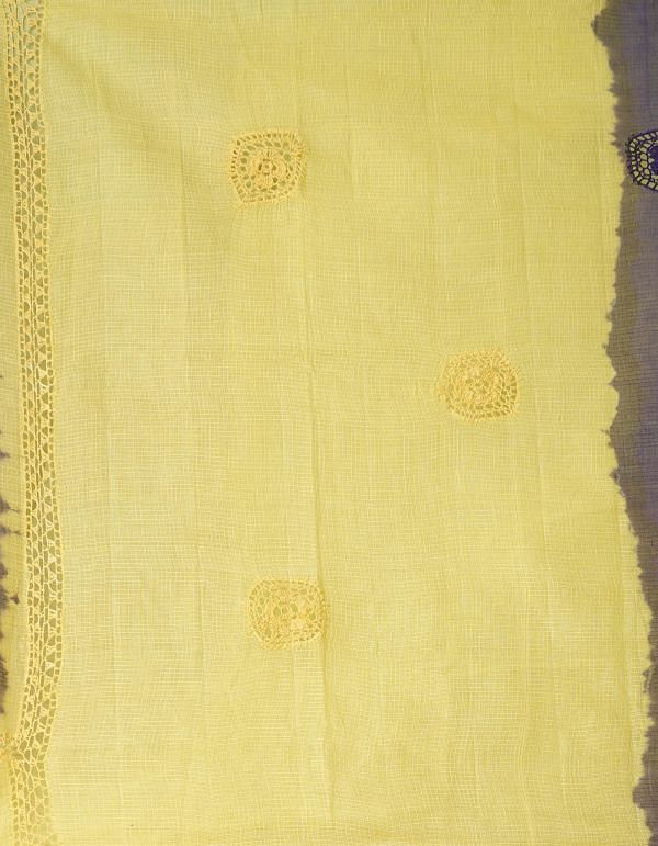 Online Shopping for Violet-Yellow  Croatian Embroidery Kota Cotton Saree with Embroidery from Rajasthan at Unnatisilks.comIndia