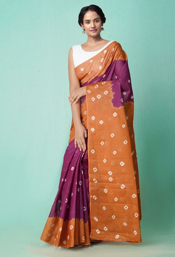 Online Shopping for Purple-Brown Pure Bandhani Cotton Saree with Bandhani from Rajasthan at Unnatisilks.comIndia