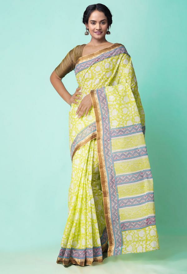 Online Shopping for Green Pure Hand Block Printed Krisha Mulmul Cotton Saree with Hand Block Prints from Rajasthan at Unnatisilks.comIndia