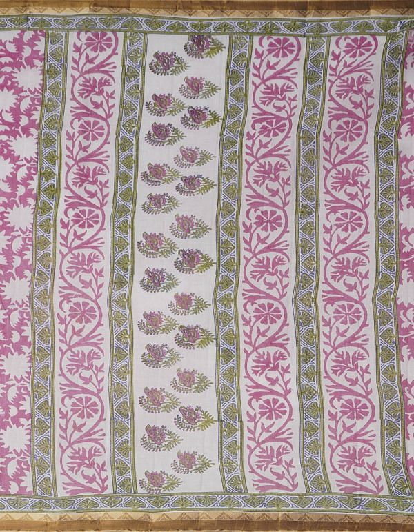 Online Shopping for Pink Pure Hand Block Printed Krisha Mulmul Cotton Saree with Hand Block Prints from Rajasthan at Unnatisilks.comIndia
