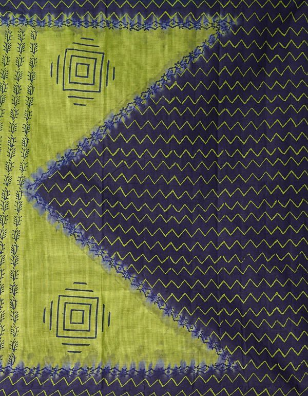 Online Shopping for Green Pure Hand Block Printed Kota Cotton Saree with Hand Block Prints from Rajasthan at Unnatisilks.comIndia