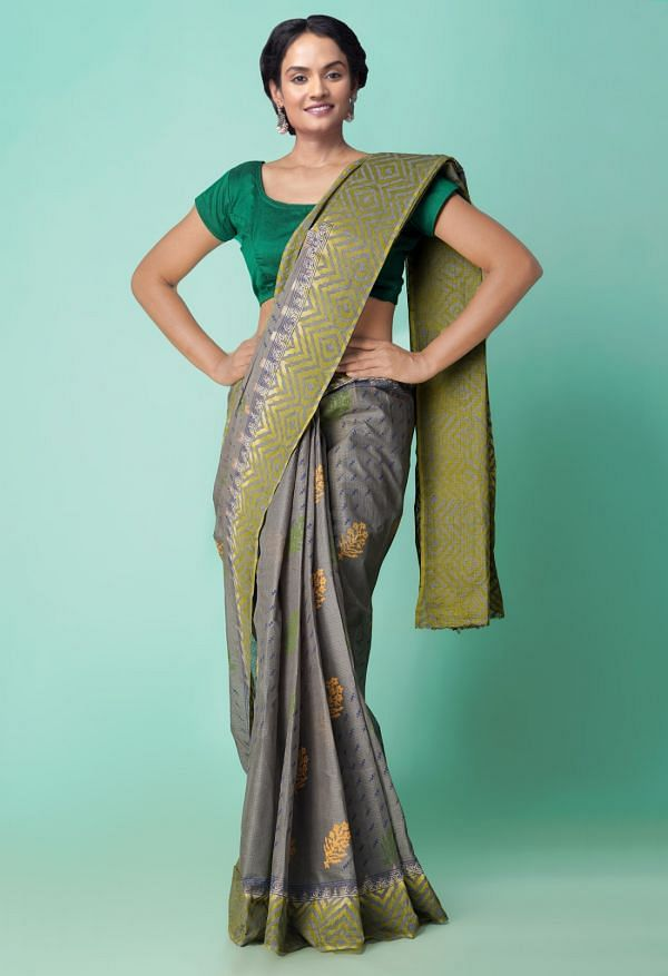Online Shopping for Grey-Green Pure Hand Block Printed Kota Cotton Saree with Hand Block Prints from Rajasthan at Unnatisilks.comIndia
