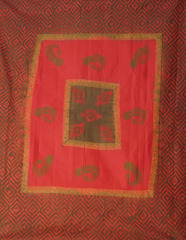 Online Shopping for Red-Green Pure Hand Block Printed Kota Cotton Saree with Hand Block Prints from Rajasthan at Unnatisilks.comIndia