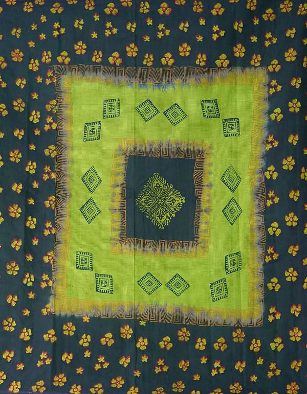 Online Shopping for Green-Blue Pure Hand Block Printed Kota Cotton Saree with Hand Block Prints from Rajasthan at Unnatisilks.comIndia
