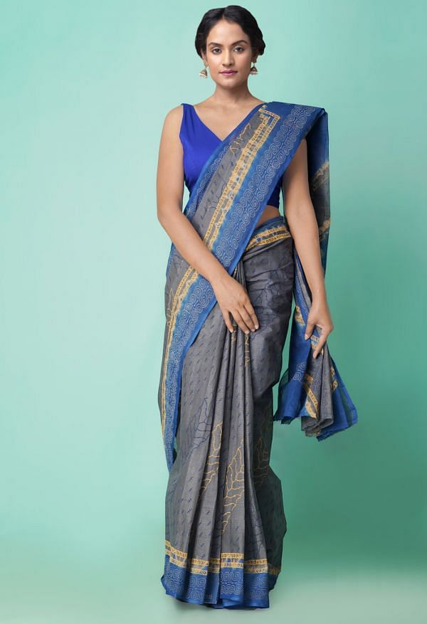 Online Shopping for Grey-Blue Pure Hand Block Printed Kota Cotton Saree with Hand Block Prints from Rajasthan at Unnatisilks.comIndia