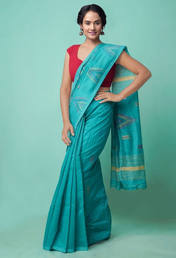 Online Shopping for Green Pure Handloom Bengal Sico Saree with Weaving from West Bengal at Unnatisilks.comIndia