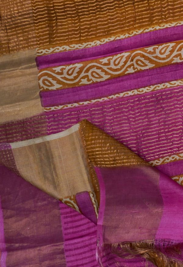 Online Shopping for Pink Pure Handloom Bengal Tussar Silk Saree with Hand Block Prints from West Bengal at Unnatisilks.comIndia