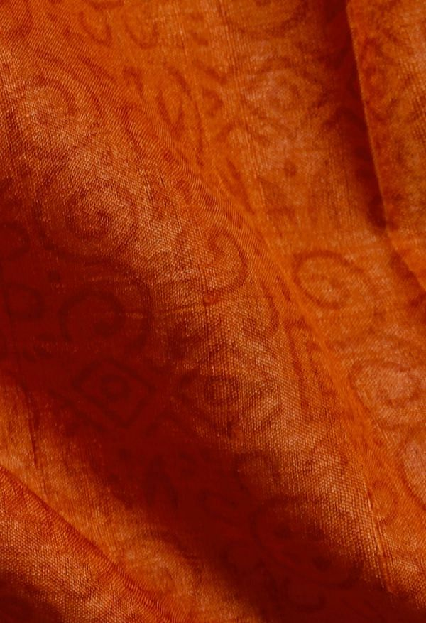 Online Shopping for Orange Pure Handloom Bengal Tussar Silk Saree with Hand Block Prints from West Bengal at Unnatisilks.comIndia