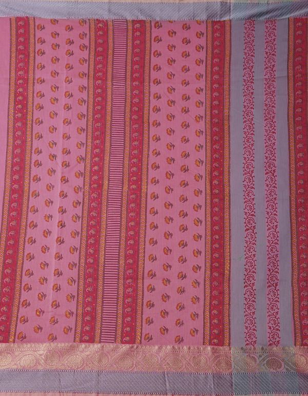 Online Shopping for Pink Pure Summer Supernet Saree with Hand Block Prints with Hand Block Prints from Rajasthan at Unnatisilks.comIndia