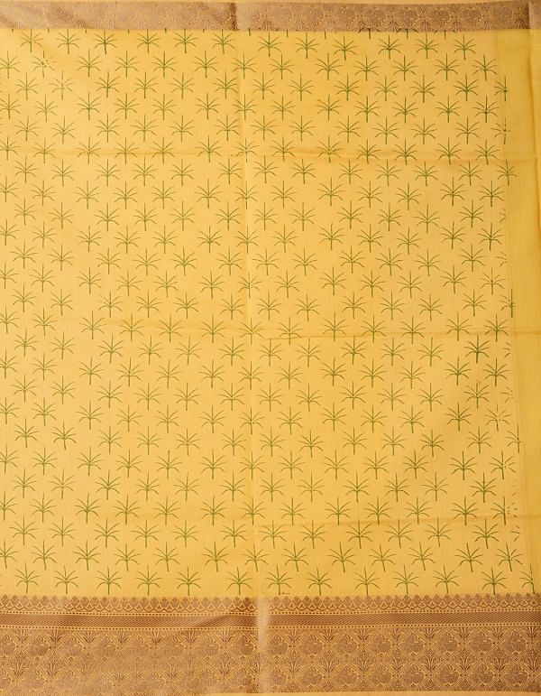Online Shopping for Yellow Pure Summer Supernet Saree with Hand Block Prints with Hand Block Prints from Rajasthan at Unnatisilks.comIndia
