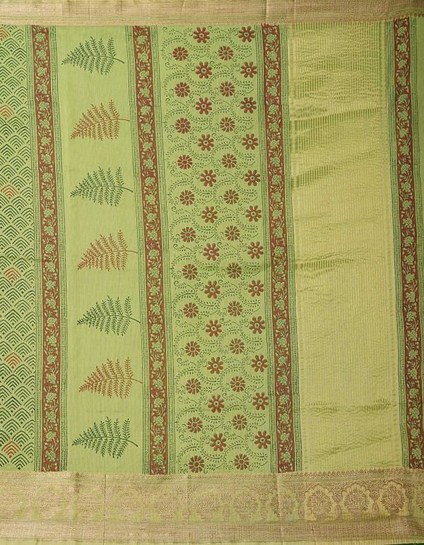 Online Shopping for Green Pure Summer Supernet Saree with Hand Block Prints with Hand Block Prints from Rajasthan at Unnatisilks.comIndia