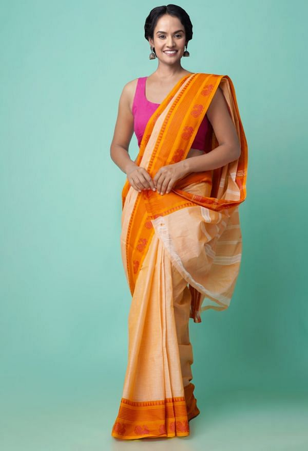 Online Shopping for Peach Pure Handloom Chettinad Cotton Saree with Weaving from Tamilnadu at Unnatisilks.comIndia