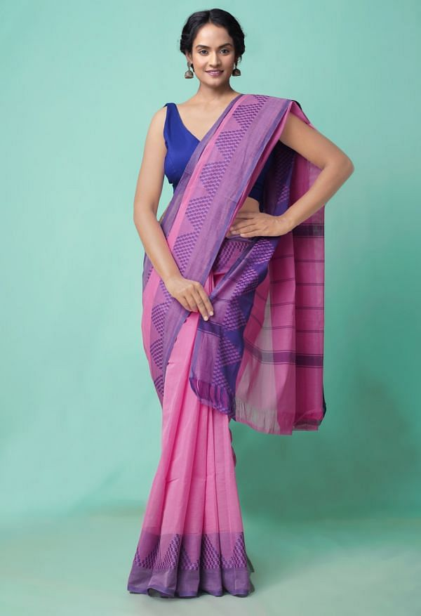 Online Shopping for Pink Pure Handloom Chettinad Cotton Saree with Weaving from Tamilnadu at Unnatisilks.comIndia