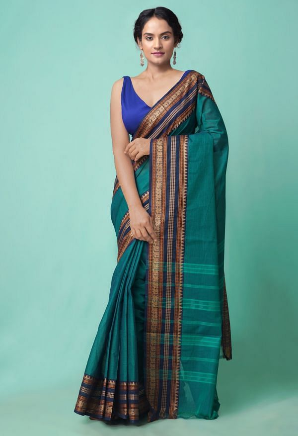 Online Shopping for Green Pure Handloom Chettinad Cotton Saree with Weaving from Tamilnadu at Unnatisilks.comIndia