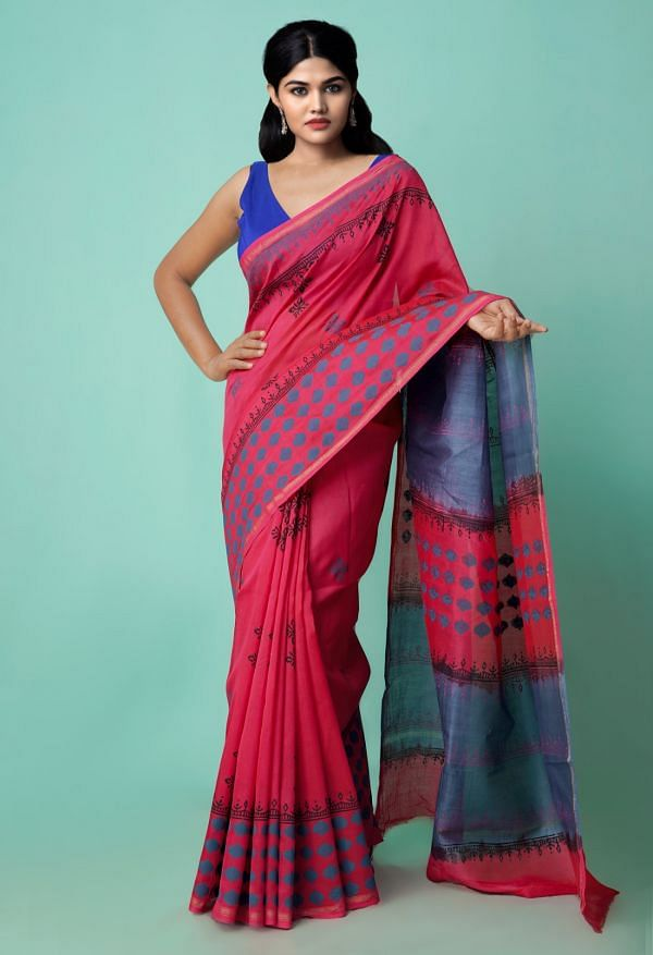 Online Shopping for Red Pure Hand Block Printed Chanderi Sico Saree with Hand Block Prints from Madhya Pradesh at Unnatisilks.comIndia