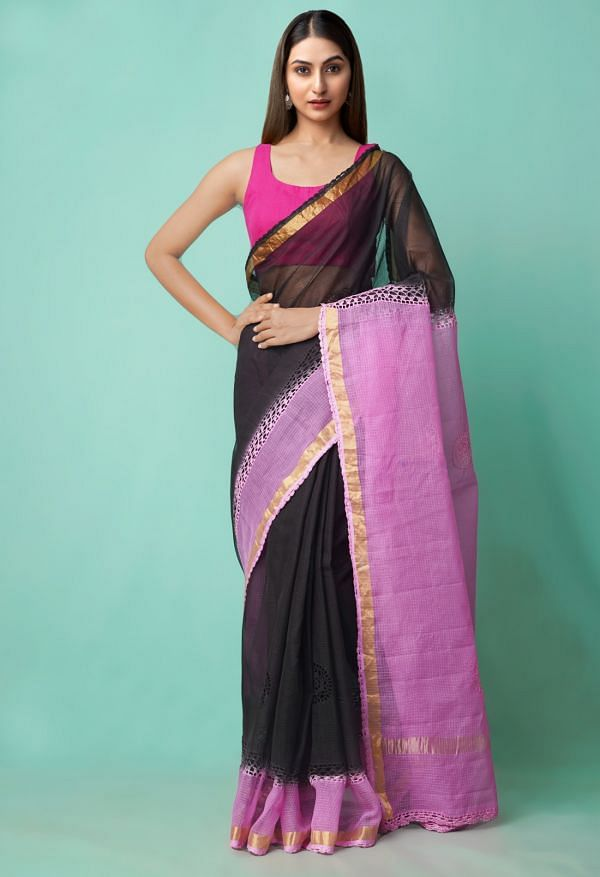 Online Shopping for Black-Pink  Croation Embroidery Kota Cotton Saree with Embroidery from Rajasthan at Unnatisilks.comIndia