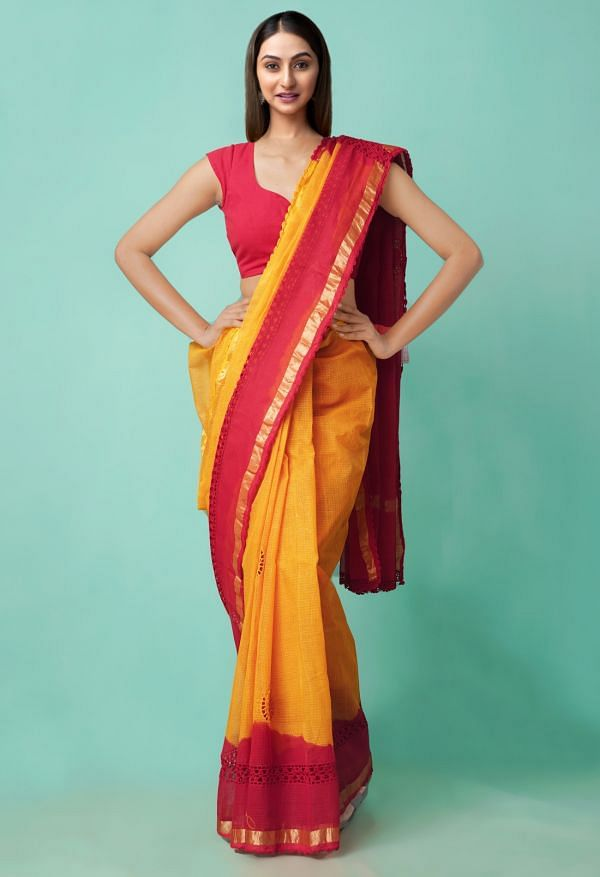 Online Shopping for Orange-Red  Croation Embroidery Kota Cotton Saree with Embroidery from Rajasthan at Unnatisilks.comIndia