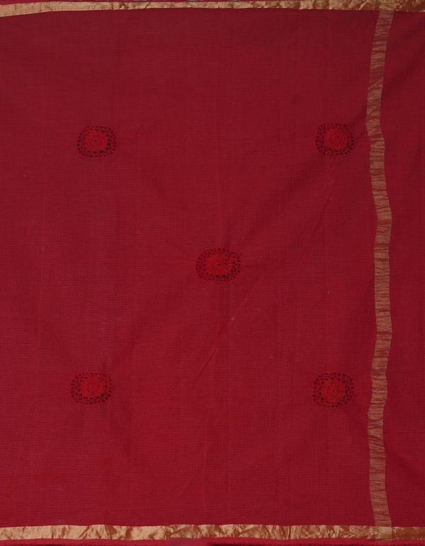 Online Shopping for Blue-Red  Croation Embroidery Kota Cotton Saree with Embroidery from Rajasthan at Unnatisilks.comIndia