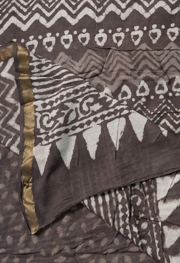 Online Shopping for Grey Pure Dabu Printed Mulmul Cotton Saree with Weaving from Andhra Pradesh at Unnatisilks.comIndia