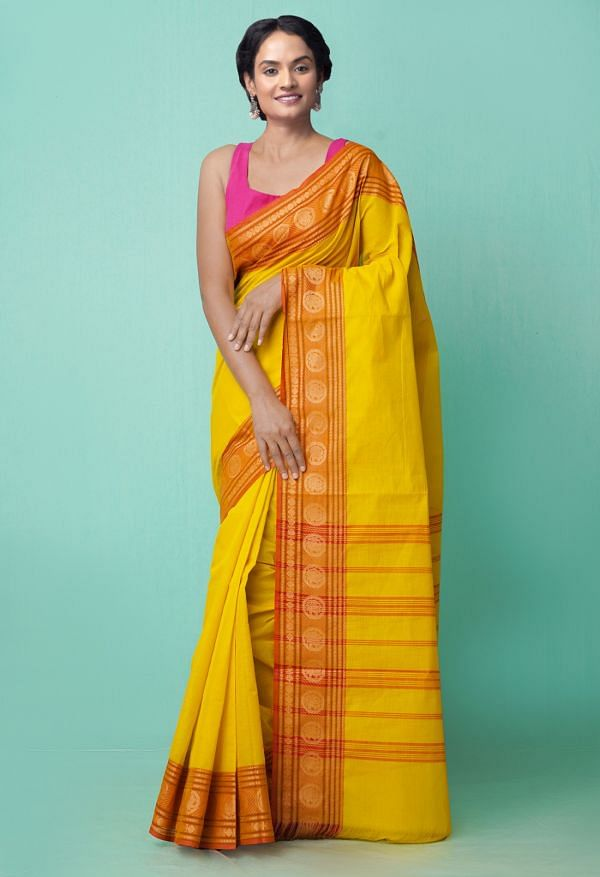 Online Shopping for Yellow Pure Handloom Pavni Chettinad Cotton Saree with Weaving from Tamilnadu at Unnatisilks.comIndia