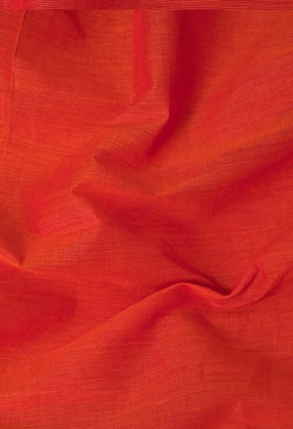 Online Shopping for Red-Orange Pure Handloom Pavni Chettinad Cotton Saree with Weaving from Tamilnadu at Unnatisilks.comIndia