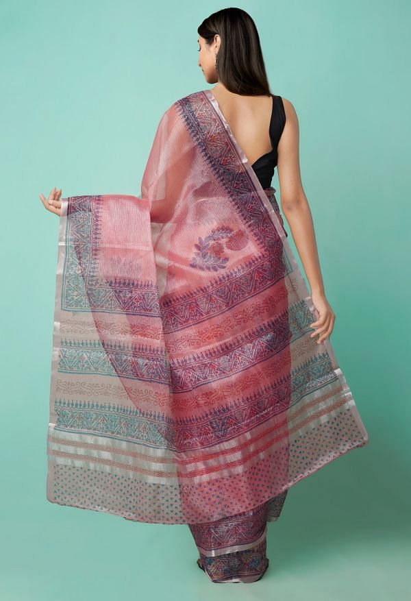 Online Shopping for Red  Block Printed Kota Tissue Saree with Hand Block Prints from Rajasthan at Unnatisilks.comIndia