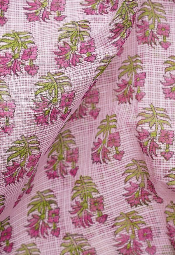 Online Shopping for Pink Pure Block Printed Kota Cotton Saree with Hand Block Prints from Rajasthan at Unnatisilks.comIndia