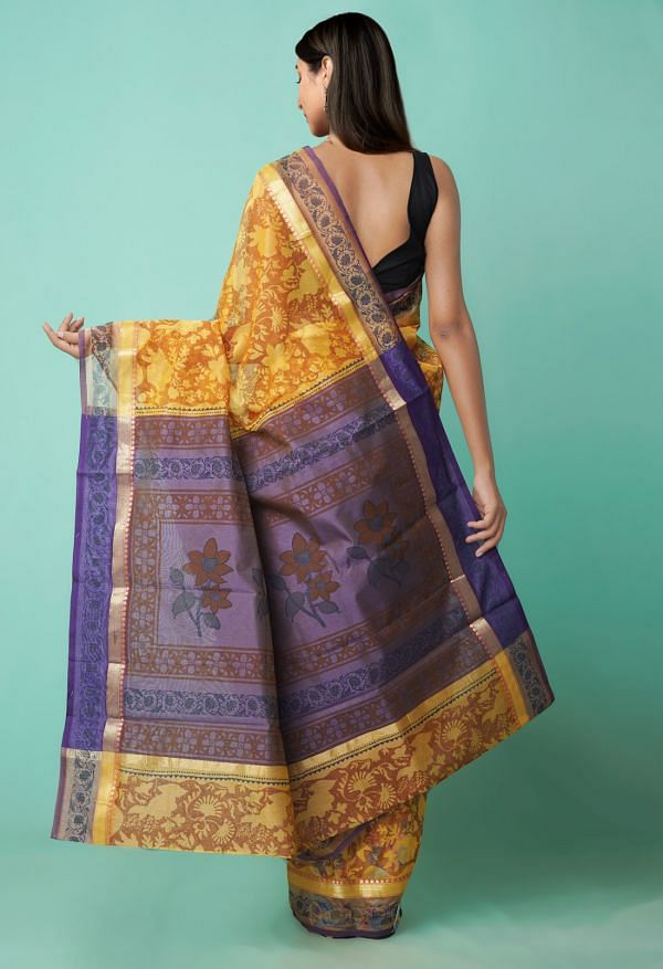 Online Shopping for Orange  Hand Block Printed Supernet Saree with Hand Block Prints from Rajasthan at Unnatisilks.comIndia
