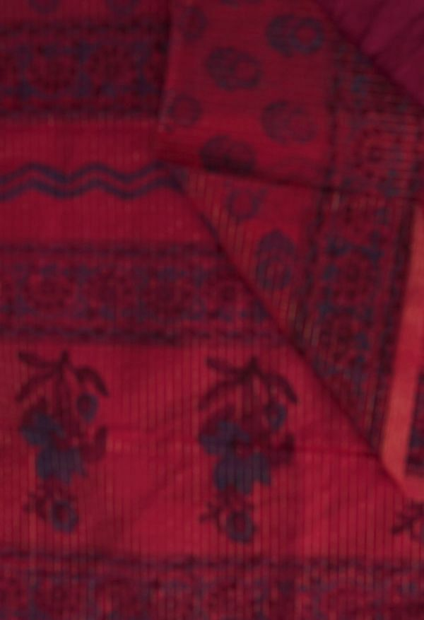 Online Shopping for Red  Hand Block Printed Supernet Saree with Hand Block Prints from Rajasthan at Unnatisilks.comIndia