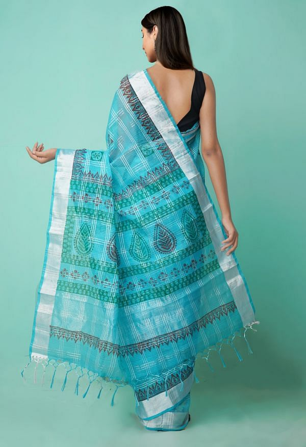 Online Shopping for Blue  Hand Block Printed Kota Cotton Saree with Hand Block Prints from Rajasthan at Unnatisilks.comIndia