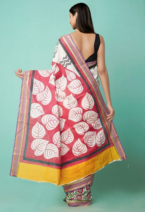 Online Shopping for Multi Pure Hand Block Printed Mulmul Cotton Saree with Hand Block Prints from Rajasthan at Unnatisilks.comIndia