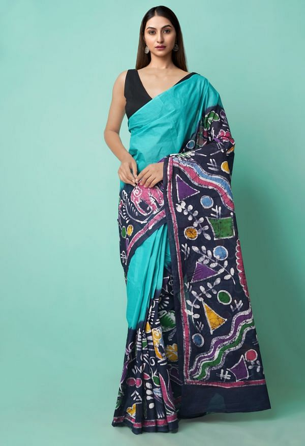 Online Shopping for Green-Blue Pure Batik Cotton Saree with Hand Block Prints from Rajasthan at Unnatisilks.comIndia